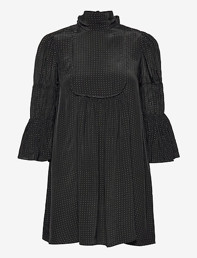 Shiny Vintage Shift Dress - summer dresses - golden dots