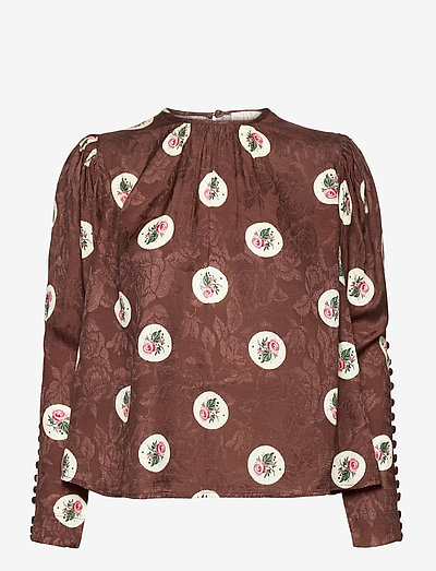 Jacquard Blouse - langærmede bluser - roses