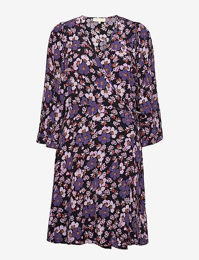 Pre Spring Kimono Dress - summer dresses - purple flowers