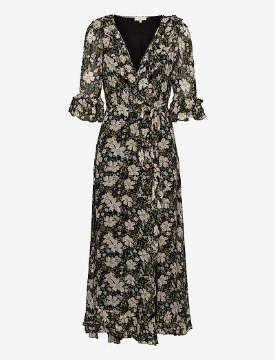 Georgette Wrap Dress - maxi dresses - black field