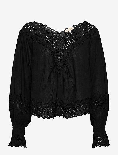 Cotton Slub Top - blouses met lange mouwen - black