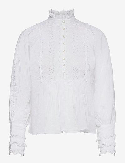 Cotton Slub Blouse - langärmlige blusen - white
