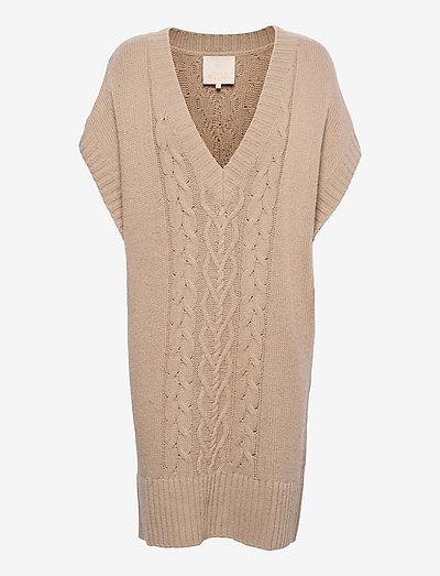 Cotton Knit Mini Dress - zomerjurken - beige