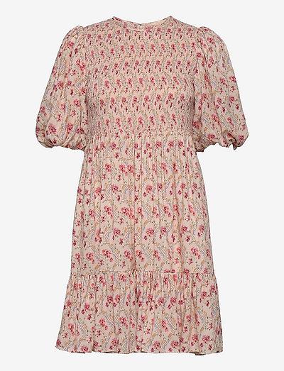 Smocking Puffed Mini Dress - zomerjurken - light wallpaper