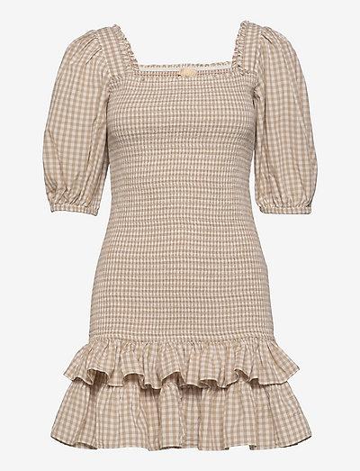 Checks Mini Smocking Dress - sommerkjoler - beige checks