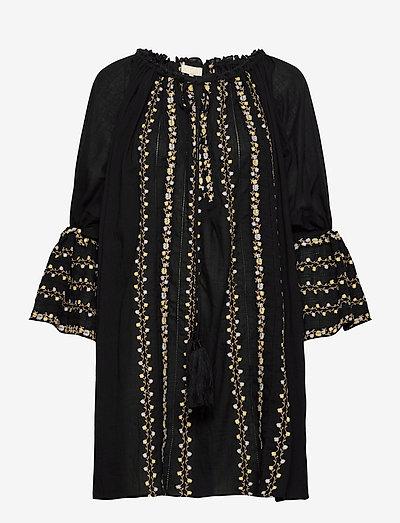 Cotton Embroidery Dress - hverdagskjoler - black
