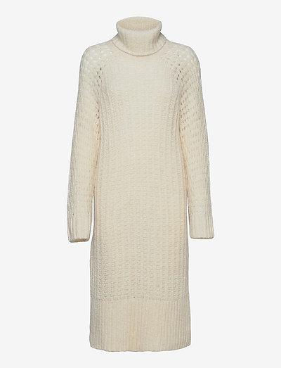 Soft Knit Turtleneck Dress - strikkede kjoler - off white