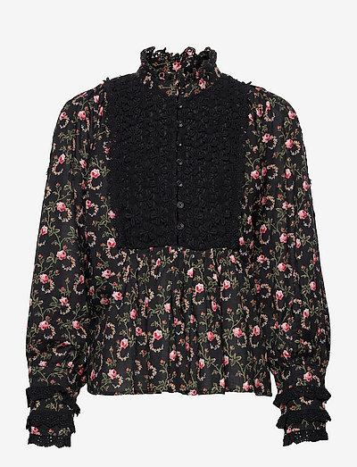 Cotton Slub Blouse - long sleeved blouses - black rose field