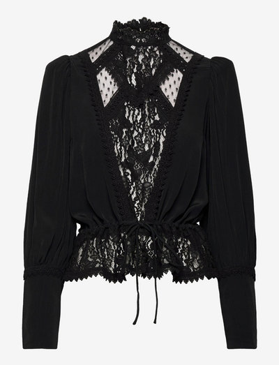 Elegant Lace Blouse - long sleeved blouses - black