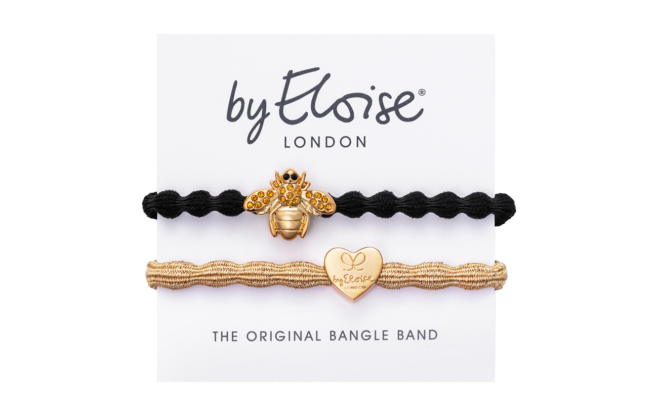 ByEloise Gold Heart on Gold Metallic and Bling Bee on Black - METALLIC GOLD/BLACK