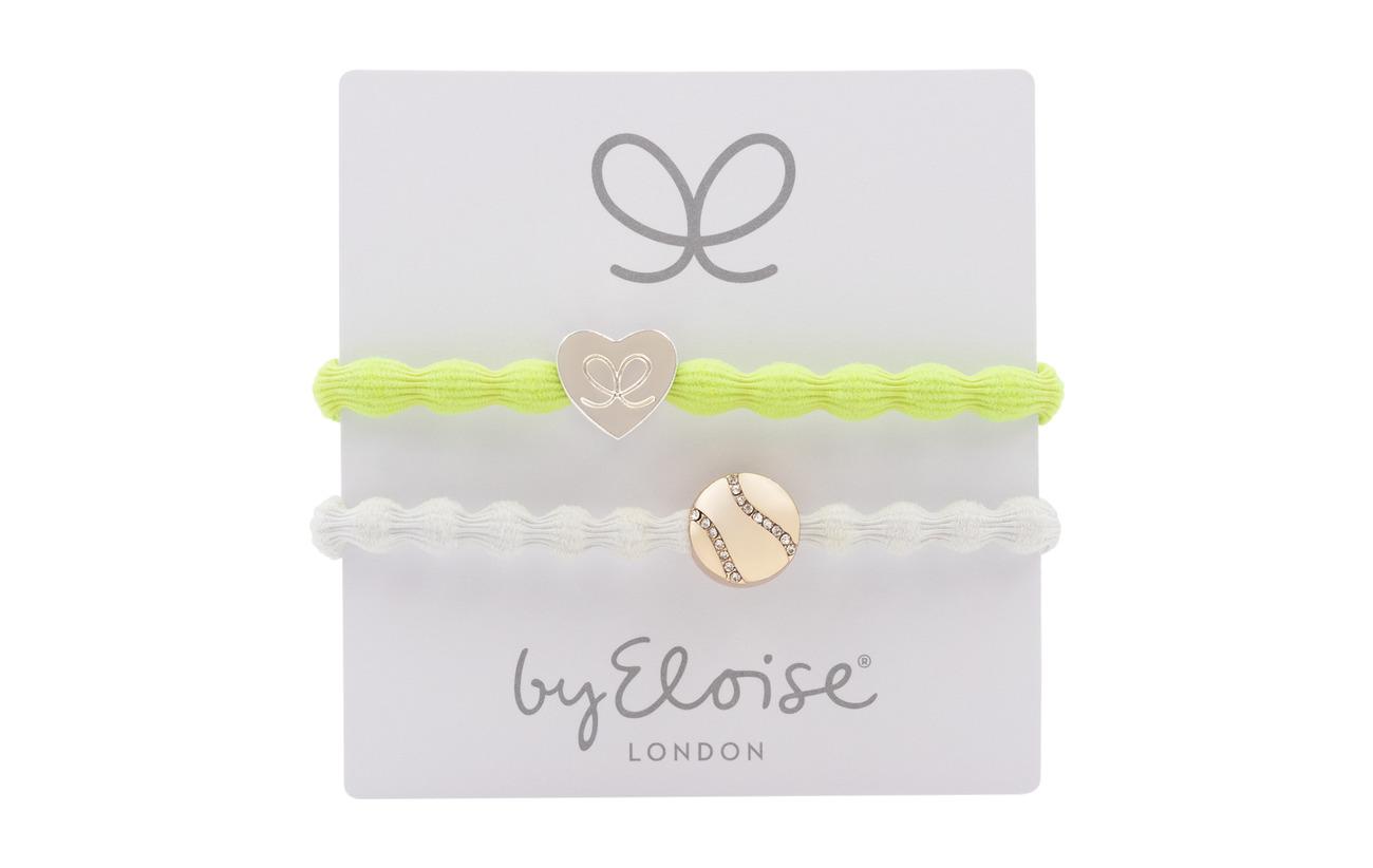 ByEloise Silver Heart on Lemon Yellow and Bling Tennis Ball on White - LEMON YELLOW/WHITE