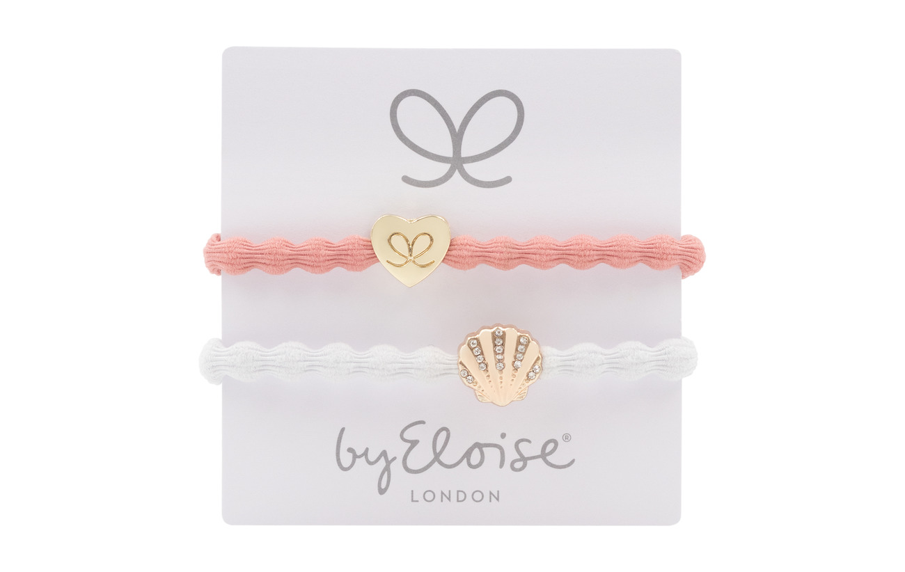 ByEloise Gold Heart on Coral and Bling Seashell on White - CORAL/WHITE