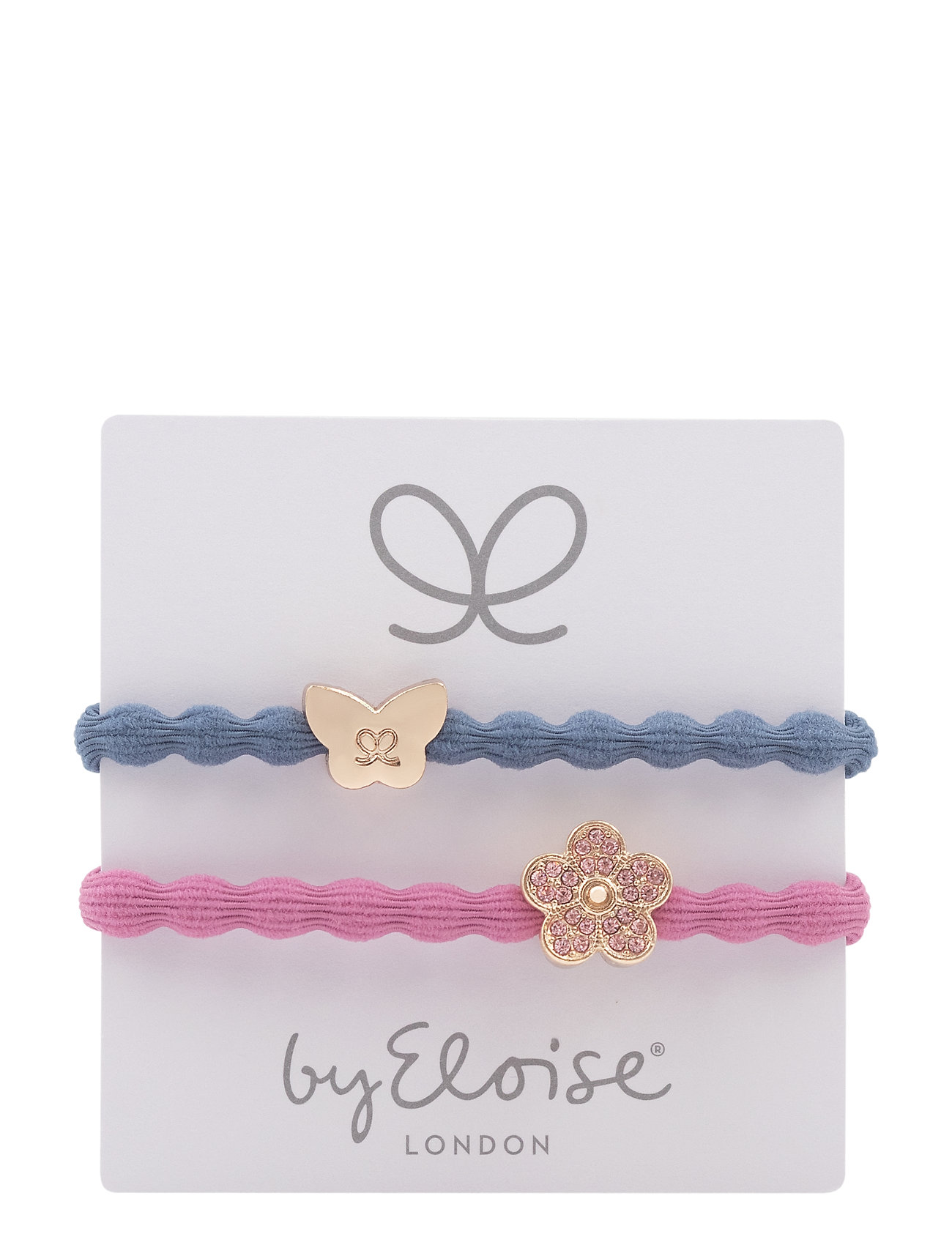 Gold Butterfly On Dove Blue And Bling Daisy On Rose Pink - ByEloise