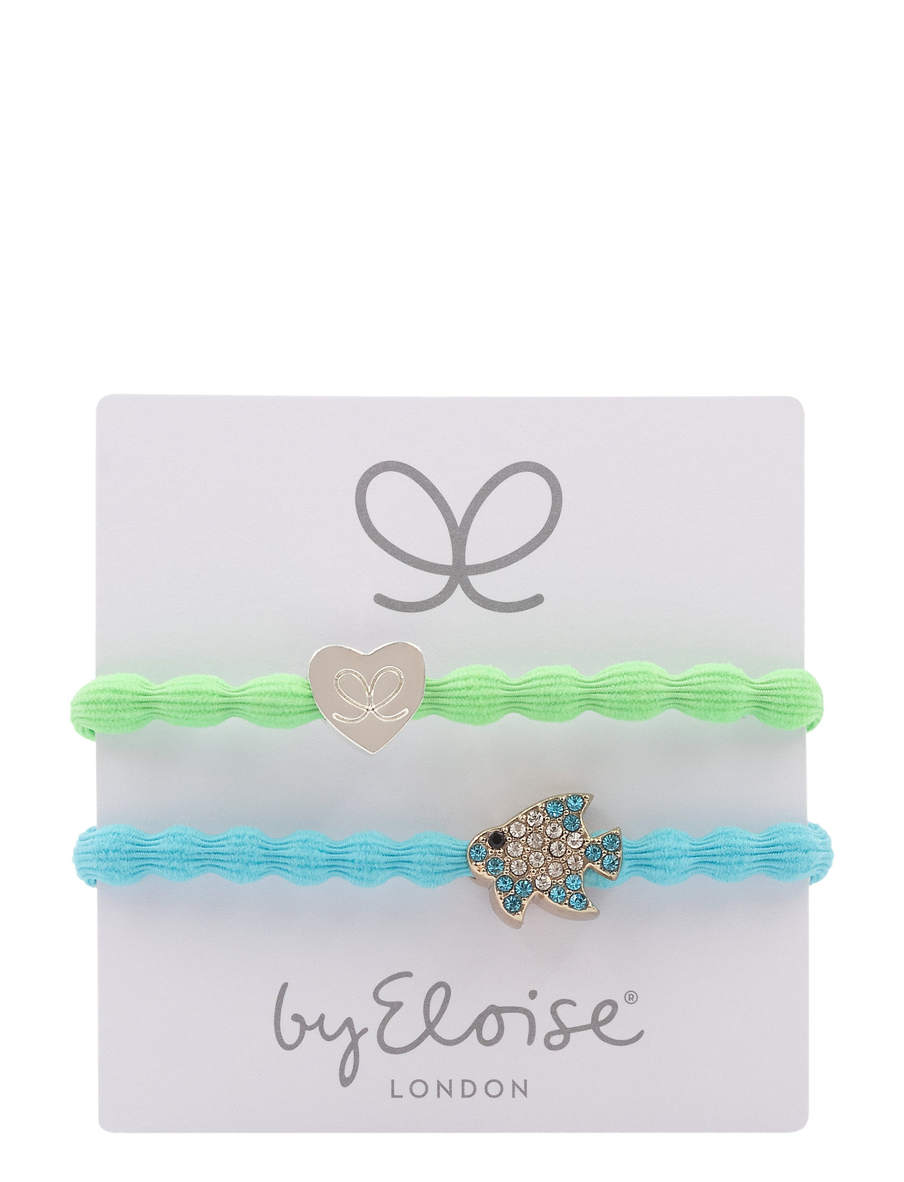 Silver Heart/Lime Green And Bling Tropical Fish/Neon Blue - ByEloise