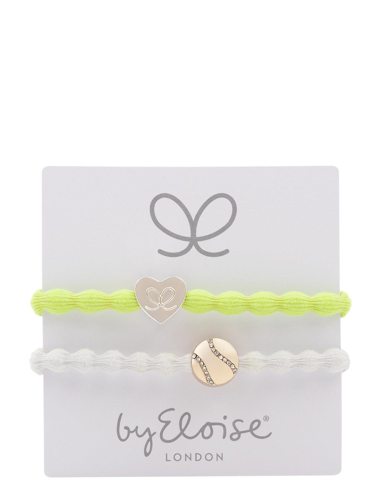 Silver Heart On Lemon Yellow And Bling Tennis Ball On White - ByEloise