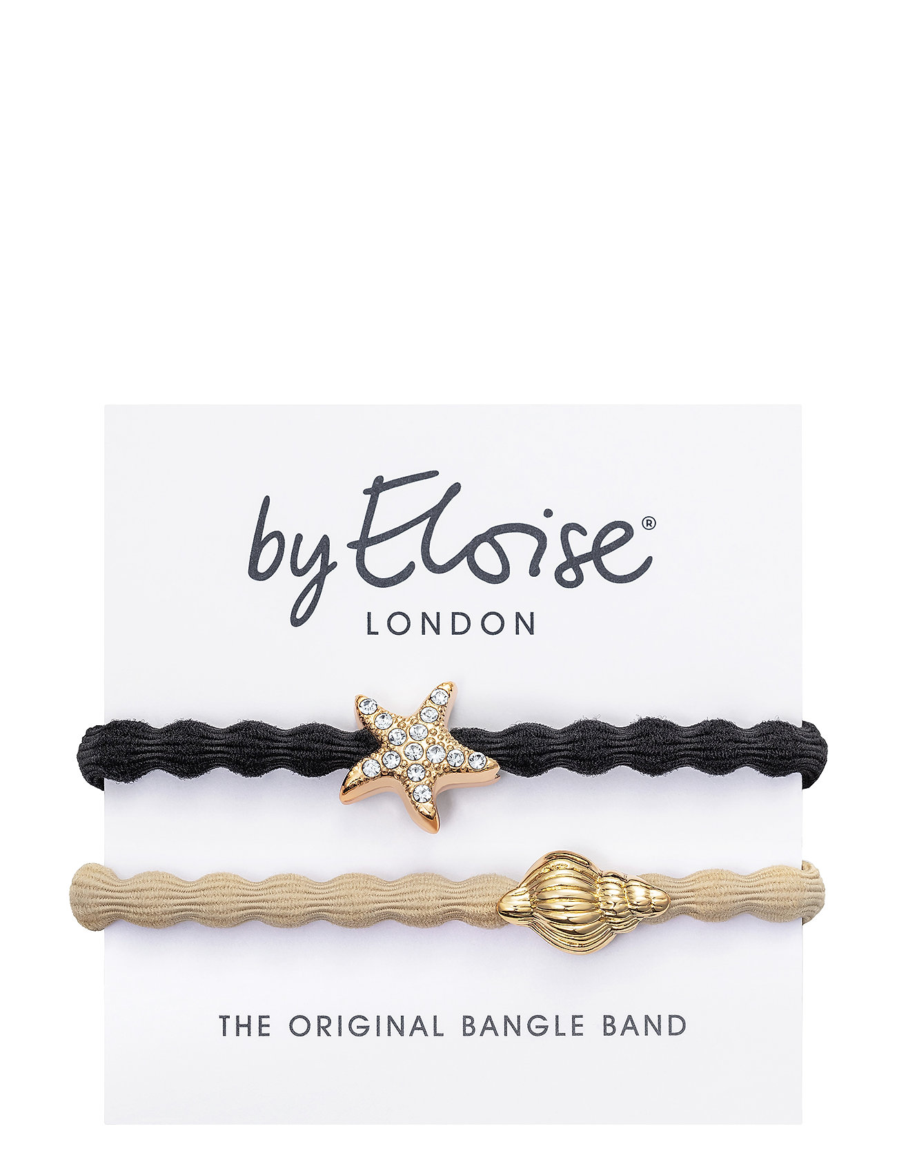 Gold Tropical Seashell On Sand And Bling Starfish On Black - ByEloise