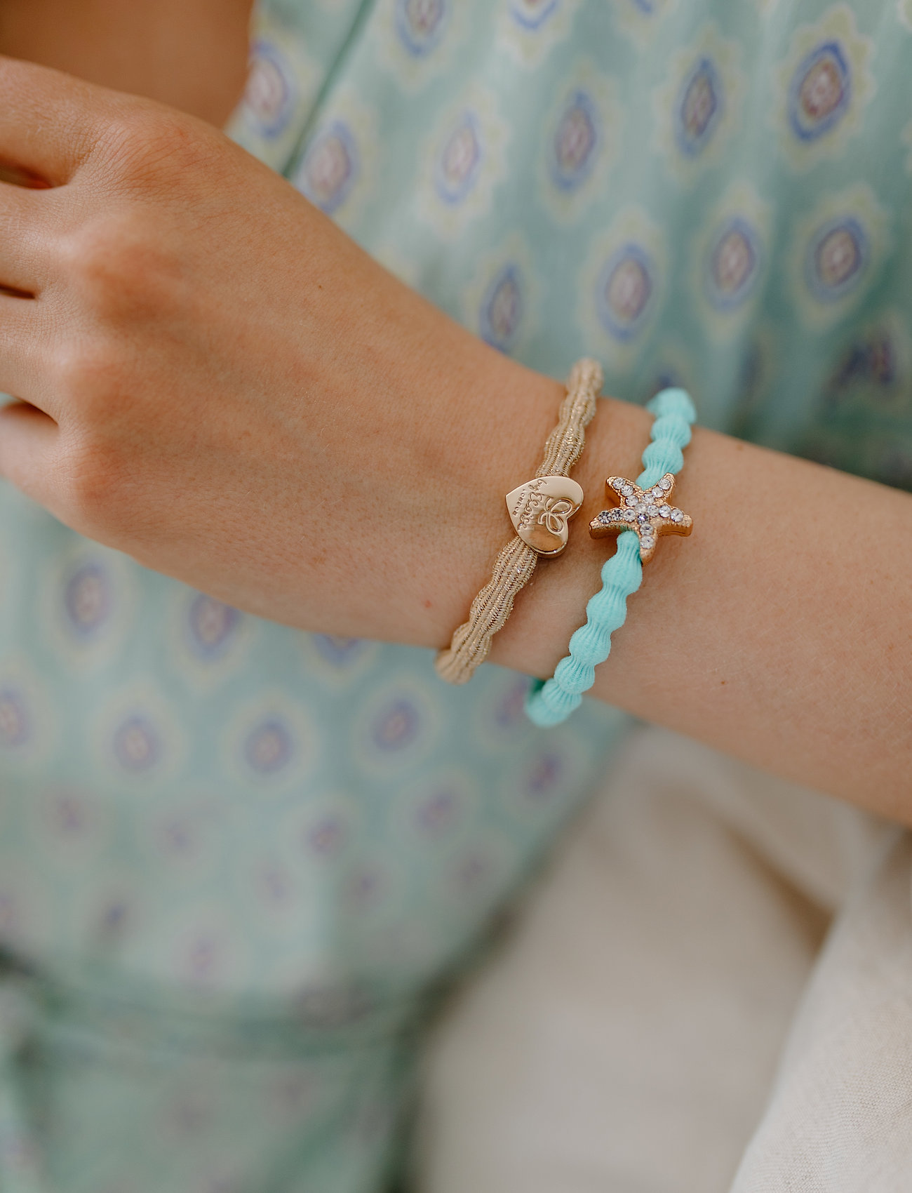ByEloise - Starfish Turquoise and Gold Heart Metallic Gold - accessories - turquoise blue/gold - 0