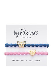 Bling Butterfly Dove Blue and Gold Heart Ballet Pink - BLUE/PINK