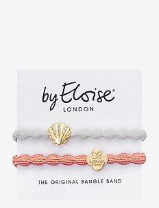 Seashell White and Metallic Gold Quatrefoil Coral - hår accessories - white/coral