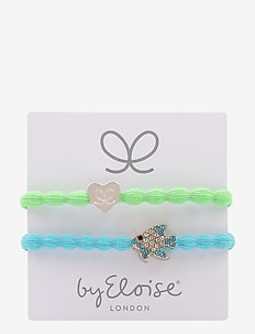 Silver Heart/Lime Green and Bling Tropical Fish/Neon Blue - LIME GREEN/NEON BLUE