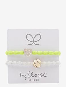 Silver Heart on Lemon Yellow and Bling Tennis Ball on White - LEMON YELLOW/WHITE