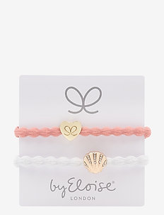 Gold Heart on Coral and Bling Seashell on White - CORAL/WHITE