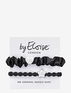 Silver Heart Silk Scrunchie Black and Silver Star Black - hår accessories - black