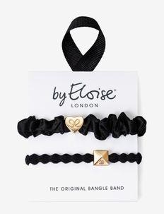 Gold Heart Silk Scrunchie Black and Gold Pyramid Stud Black - hår accessories - black