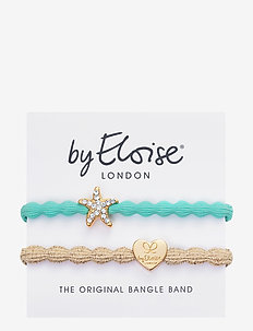 Starfish Turquoise and Gold Heart Metallic Gold - hår accessories - turquoise blue/gold