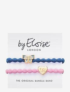 Bling Butterfly Dove Blue and Gold Heart Ballet Pink - scrunchiet - blue/pink