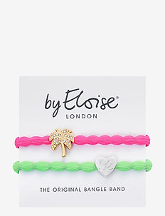 Palm Neon Pink and Silver Heart Lime Green - hår accessories - pink/lime green