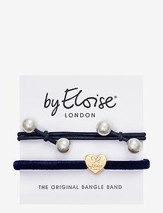 Pearl Cluster Navy Blue and Velvet Gold Heart Navy - hår accessories - navy