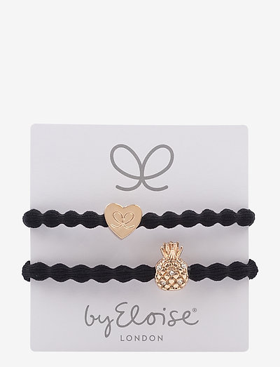 Gold Heart on Black and Bling Pineapple on Black - accessories - black/black