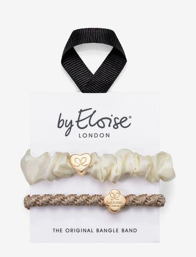 Gold Heart Silk Scrunchie and Woven Gold Quatrefoil - hiusasusteet - cream/blonde