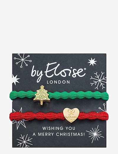 Christmas Tree Emerald Green and Metallic Gold Heart Red - accessories - green/red