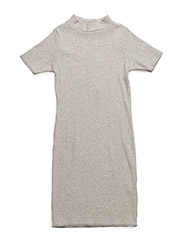 Rib turtleneck dress - GREY MIX