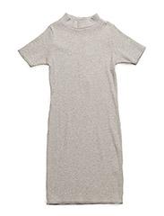 Rib turtleneck dress - GREY MIX