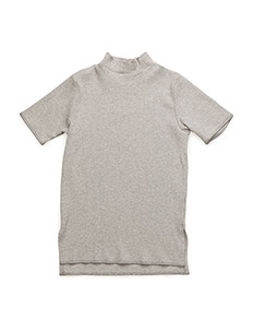 Rib turtleneck tee - GREY MIX