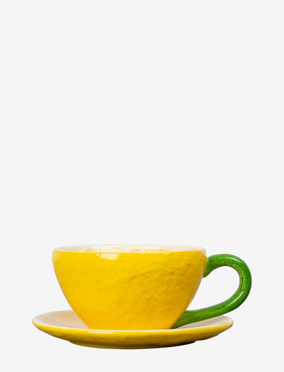 Cup and plate Lemon - tekopper - yellow