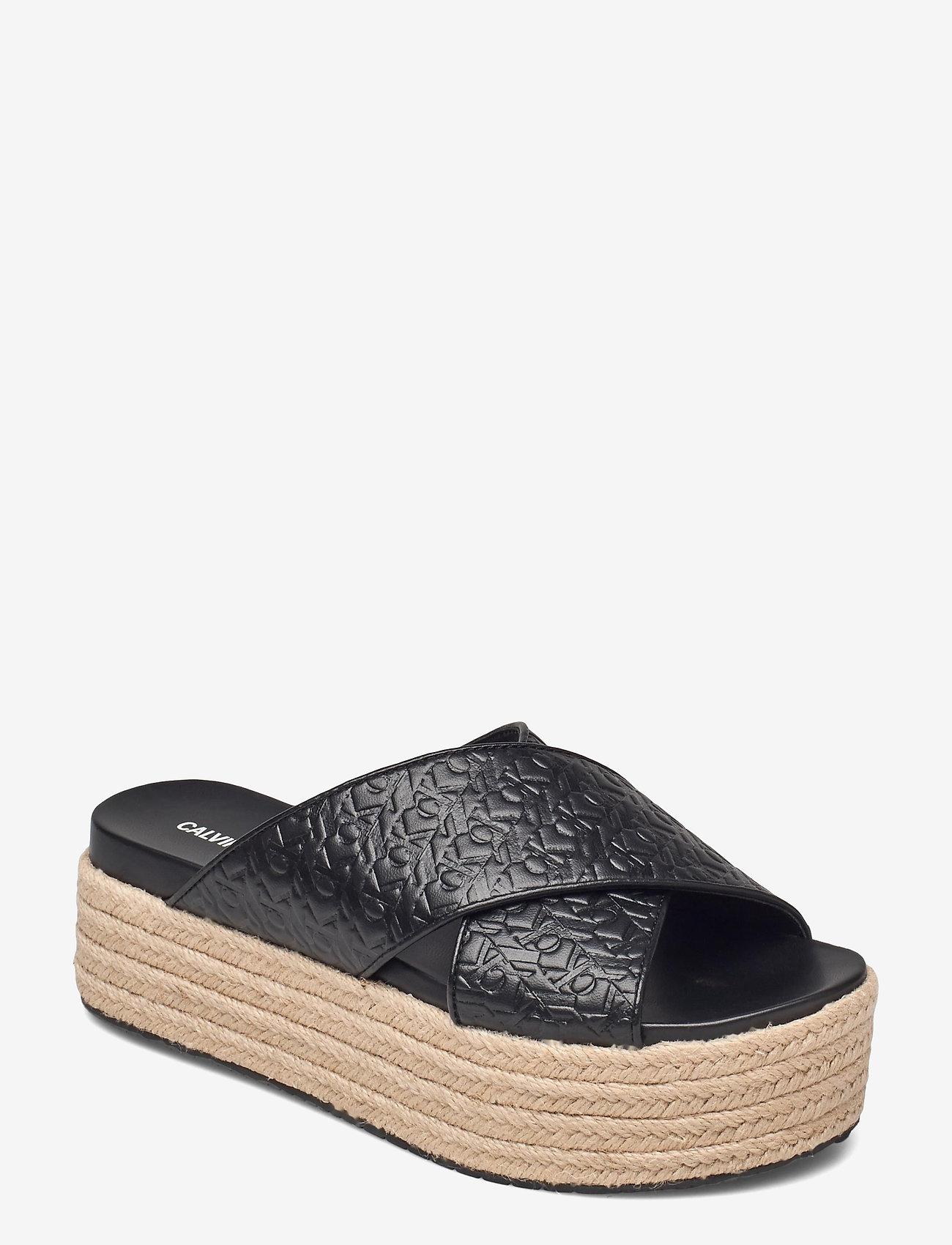 Calvin Klein - WEDGE PF SANDAL CRISSCROSS PA-PL - flache espadrilles - black - 0