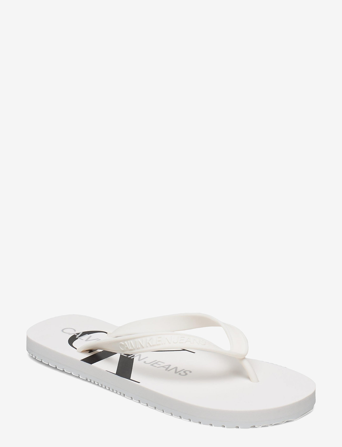 Calvin Klein - BEACH SANDAL MONOGRAM TPU - teenslippers - bright white - 0