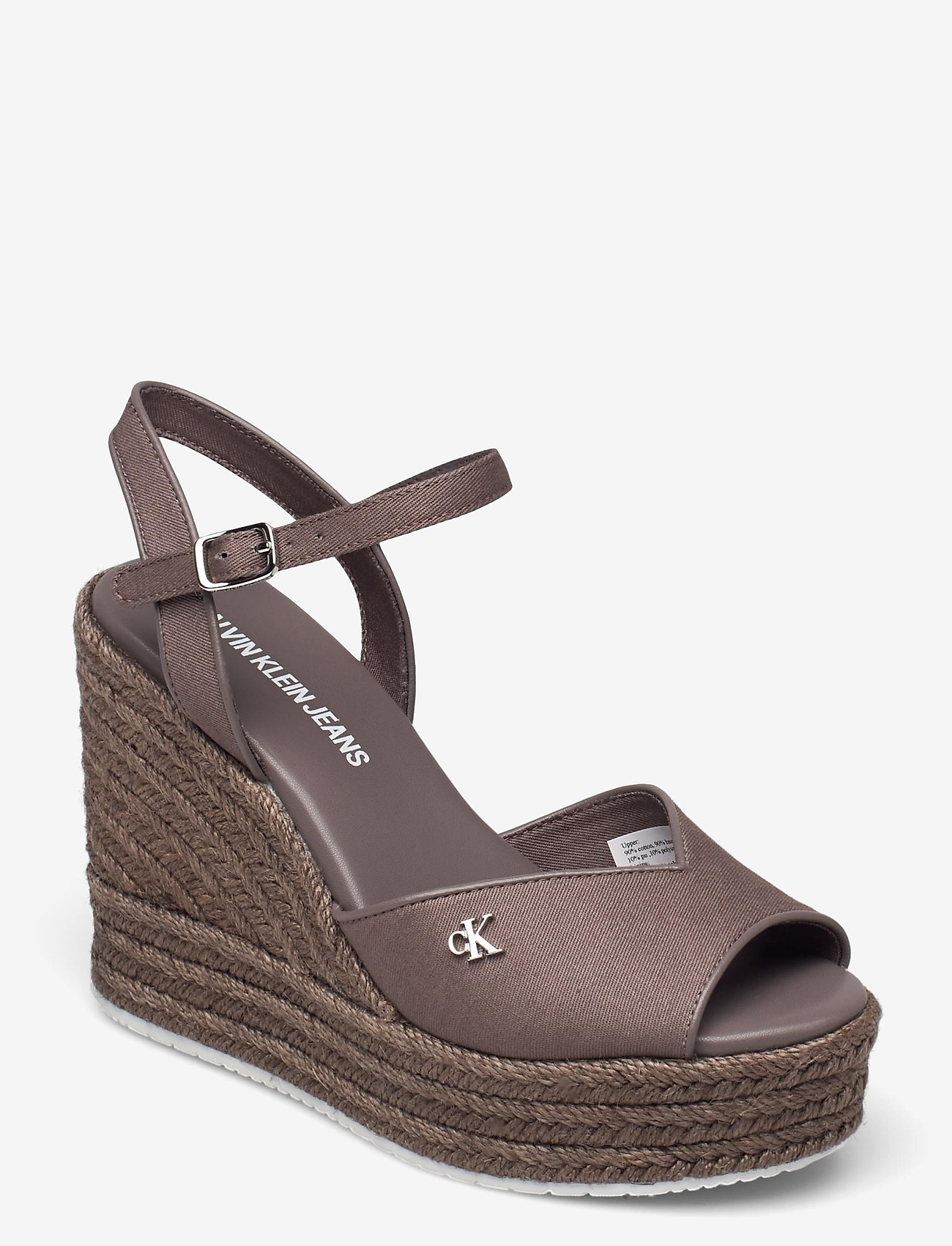 Calvin Klein - WEDGE SANDAL ANKLE STRAP CO - wedges - dusty brown - 0