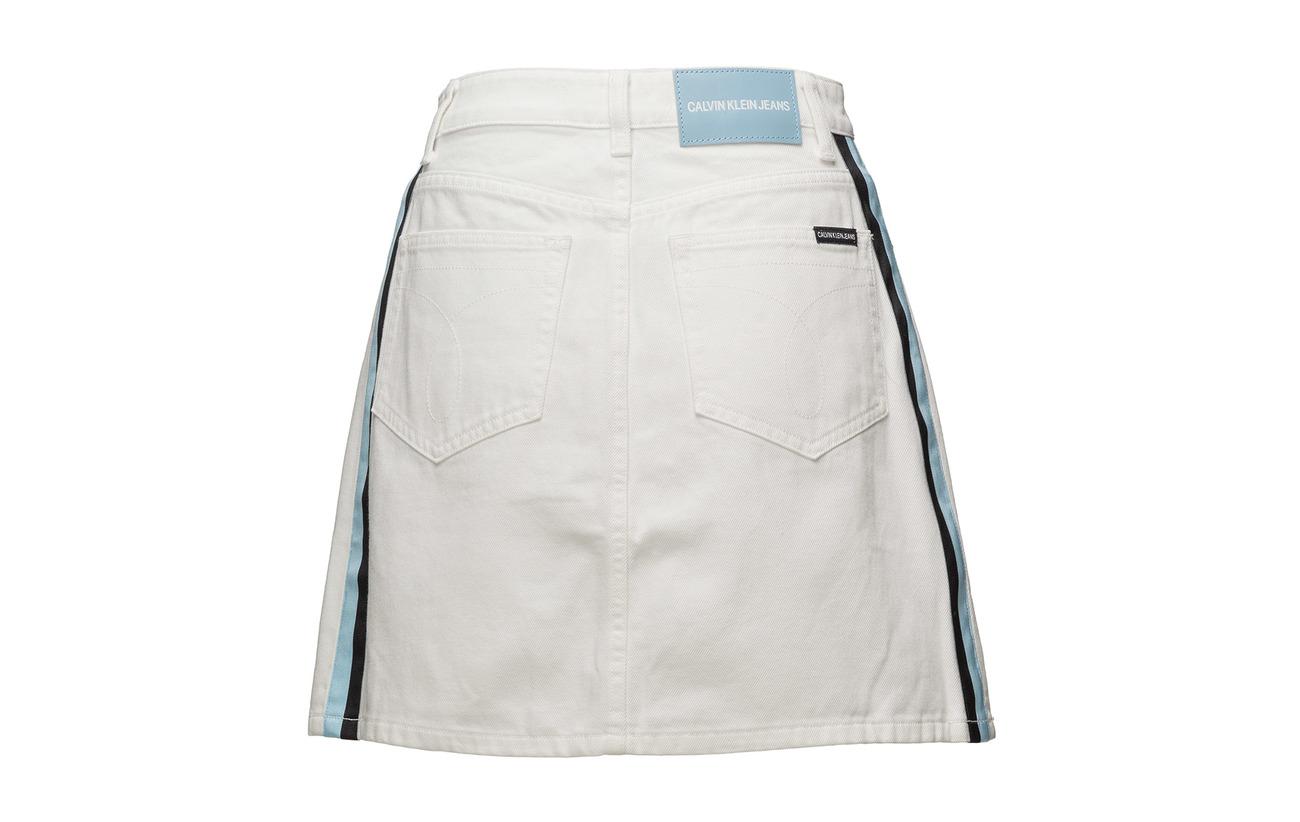 White Coton Mini Klein Rise Skirt Calvin 100 Jeans Stripe High w0IqqzvH
