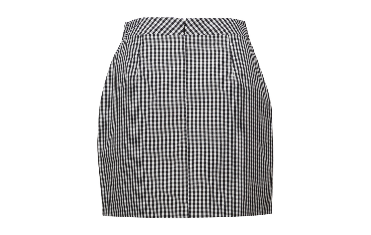 Gingham Skirt White A Jeans Polyester Ck line Coton Calvin Bright Black Short 37 Klein 63 WYIqnZB