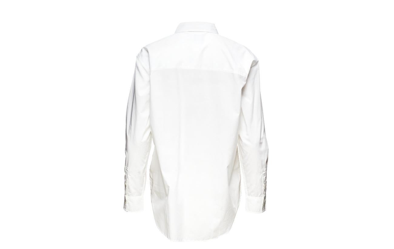 Jeans Calvin White 100 Poplin Bright Klein Oversized Coton Shirt qaRqwTZf