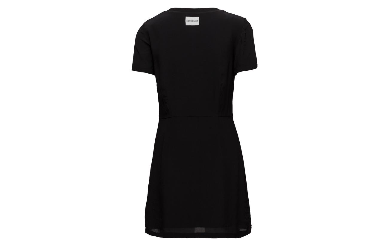 Sleeve Faux Viscose Jeans Calvin Silk 100 Ck Short Dress Klein Black XEqCxA