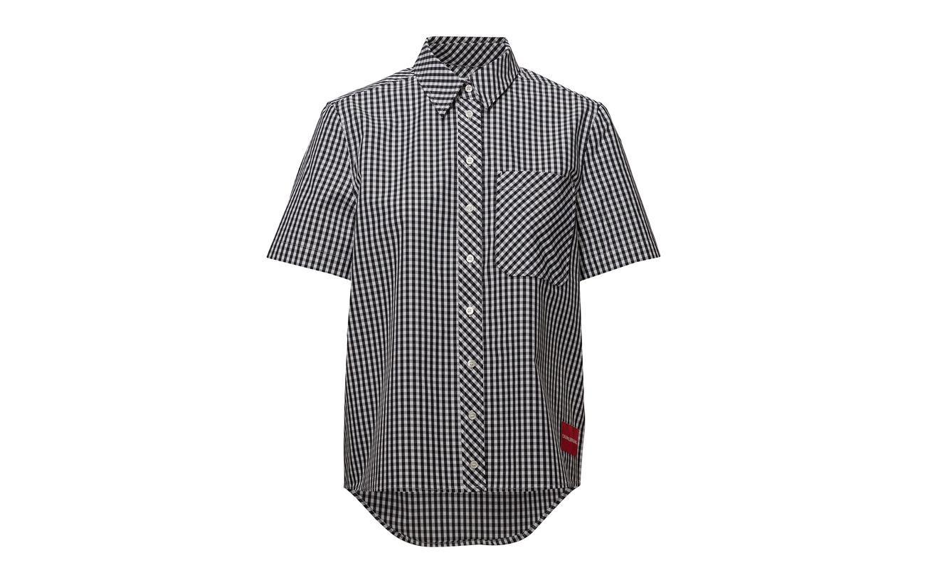 Short 63 Coton 37 White Polyester Sleeve Black Ck Klein Calvin Gingham Shirt Bright Jeans PwxF7Aqt