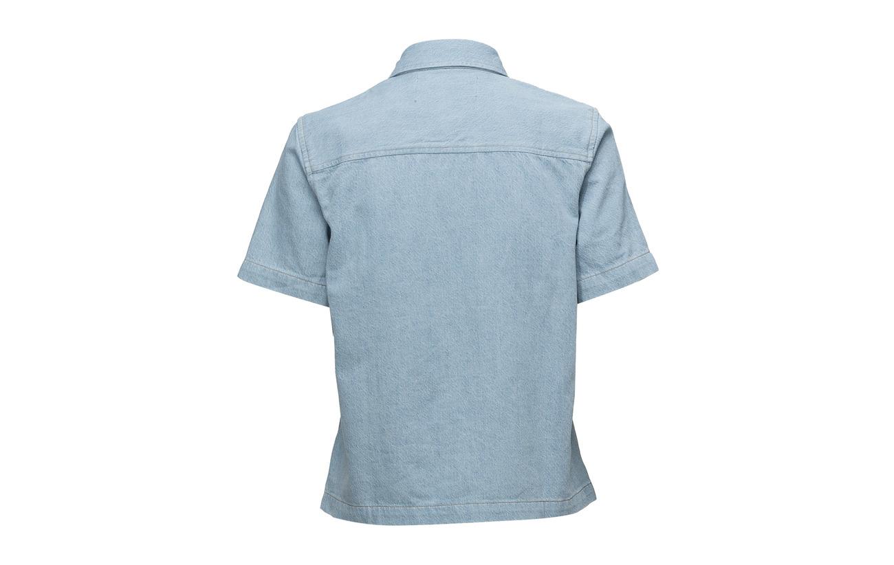 100 Blocked Calvin Jeans Blocke Ss Coton Boxy Klein Irwin Shirt Blue zzw6Z8xq