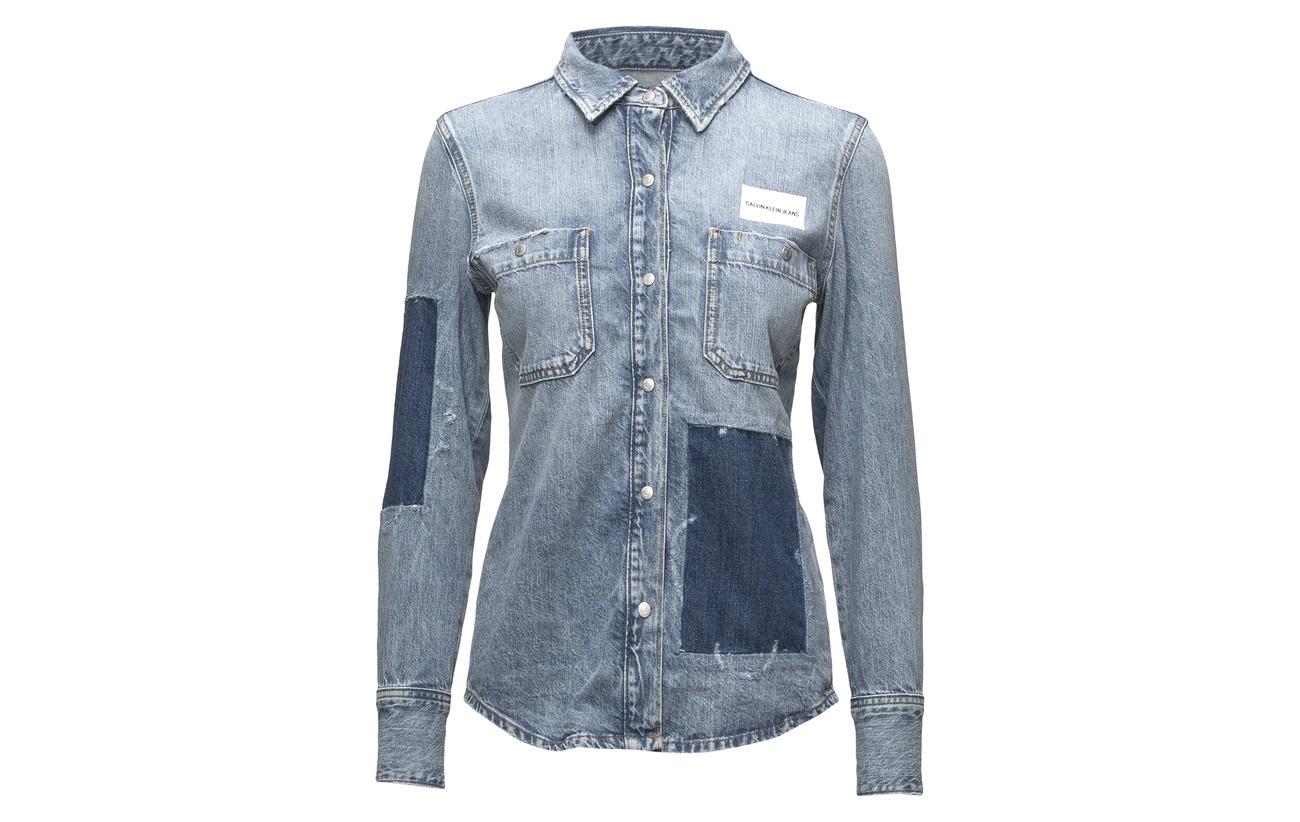 100 Klein Shirt Blue Utility Coton Jeans Ls Nikki Calvin 0qp4RwR