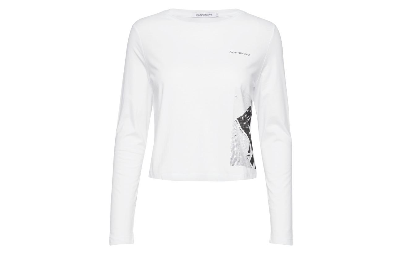 White Coton Jeans Bright Print Flag Klein L Cropped Calvin 100 qZCTwF4n